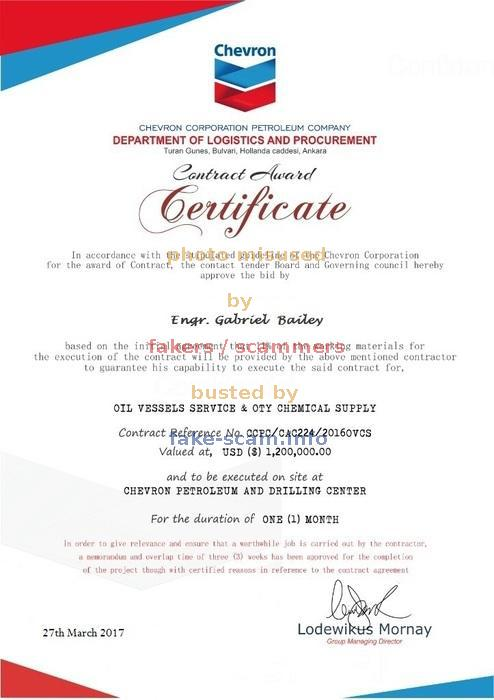 Fake - Scam - Fraud - Info - (Contract Award Certificate) CHEVRON ...