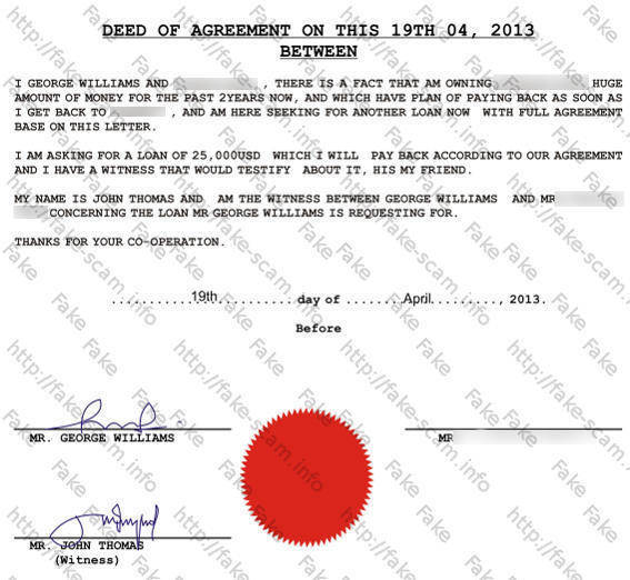 fake scam fraud info williams george loan agreement